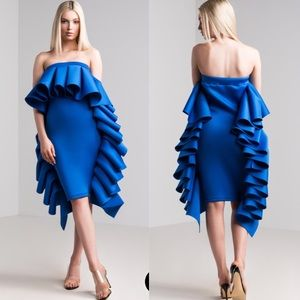 Dresses & Skirts - Olympia ruffles strapless scuba dress in royal
